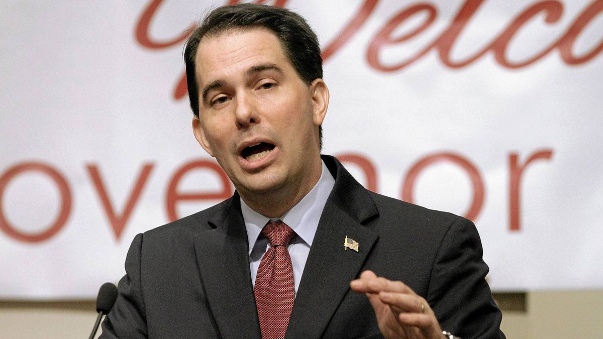 In an April 17, 2012 file photo, Wisconsin Gov. Scott Walker speaks to the Illinois Chamber of Commerce in Springfield, Ill.