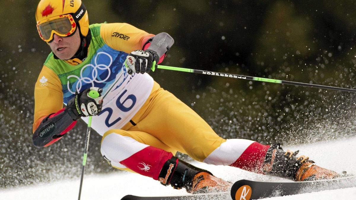 Canada's Robbie Dixon carves a turn in the second run of the men's giant slalom alpine ski event at the Olympic Winter Games in Whistler B.C. Tuesday February 23, 2010.