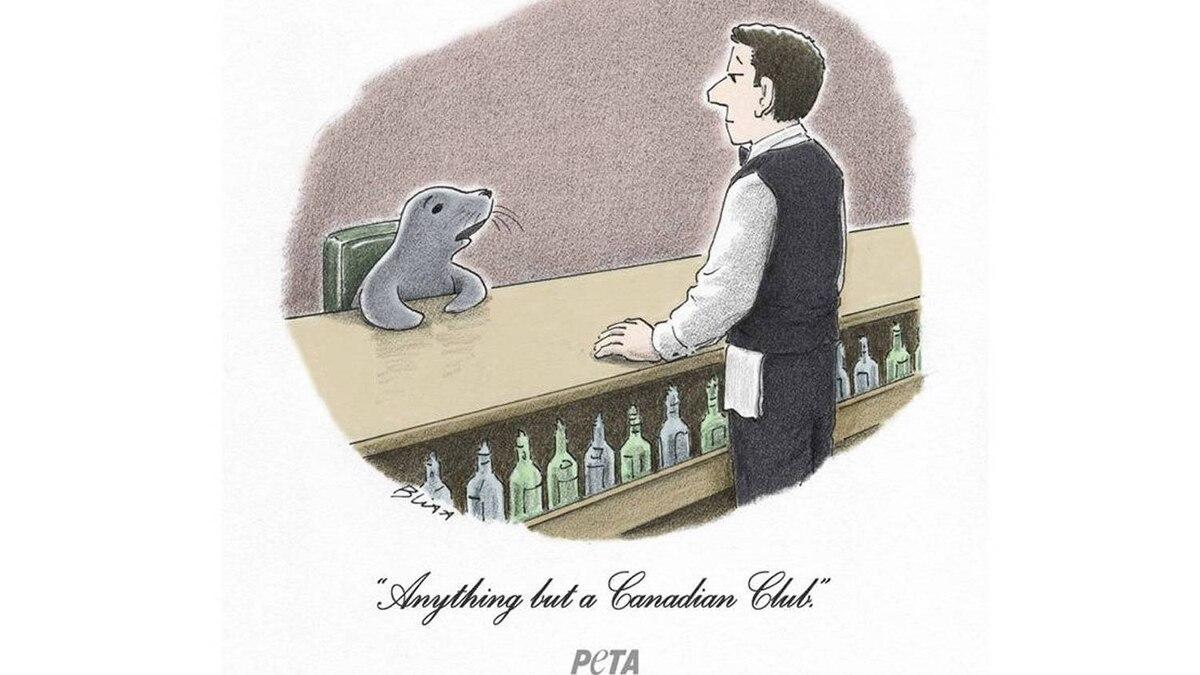 PETA takes axe to seal-clubbing cartoon ad