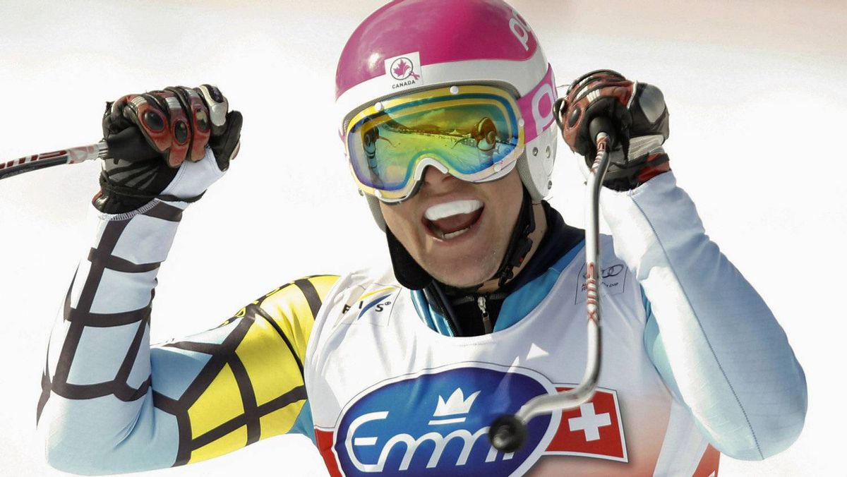 Benjamin Thomsen of Canada reacts following his second place win during the men's Alpine Skiing World Cup Downhill race in Rosa Khutor near Sochi February 11, 2012. The Rosa Khutor Alpine Resort is hosting men's and women's downhill and super combined Alpine Skiing World Cup races over the next two weekends in preparation for the 2014 Sochi Winter Olympic Games.