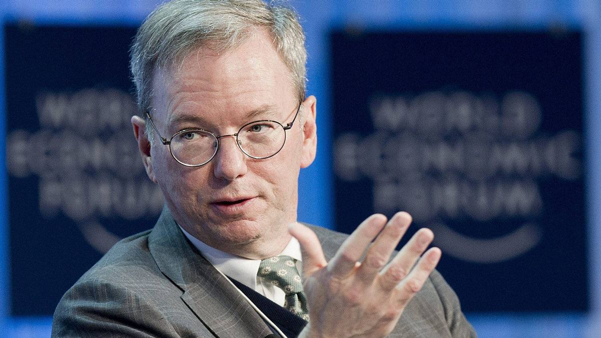Eric Schmidt, Executive Chairman of Google, speaks during a plenary session at the 42nd Annual Meeting of the World Economic Forum, WEF, in Davos, Switzerland, Friday, Jan. 27, 2012.