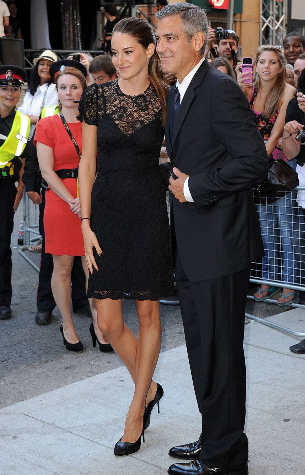 """TORONTO, ON - SEPTEMBER 10: Actors Shailene Woodley (L) and George Clooney arrive at """"The Descendents"""" Premiere at The Elgin during the 2011 Toronto International Film Festival on September 10, 2011 in Toronto, Canada."""