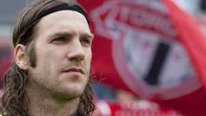 Toronto FC 's captain and former World Cup winner Torsten Frings takes his place on the bench before his team's 1-0 defeat to Chivas USA MLS action in Toronto on Saturday April 14, 2012, as Frings nears his return to action after injury. THE CANADIAN PRESS/Chris Young