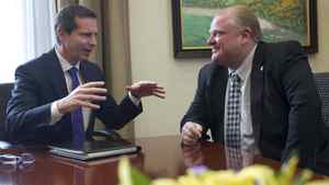 Premier Dalton McGuinty, left, and Toronto mayor Rob Ford meet at Queen's Park in Toronto, Dec. 7, 2010.