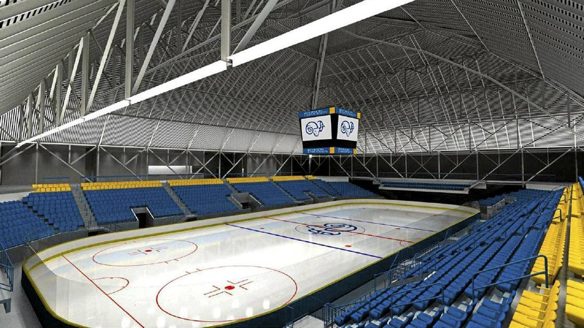 Concept for the rink and seating with the famous Garden's clock at the Ryerson Universioty Sports and Recreation centre at Maple Leaf Gardens.