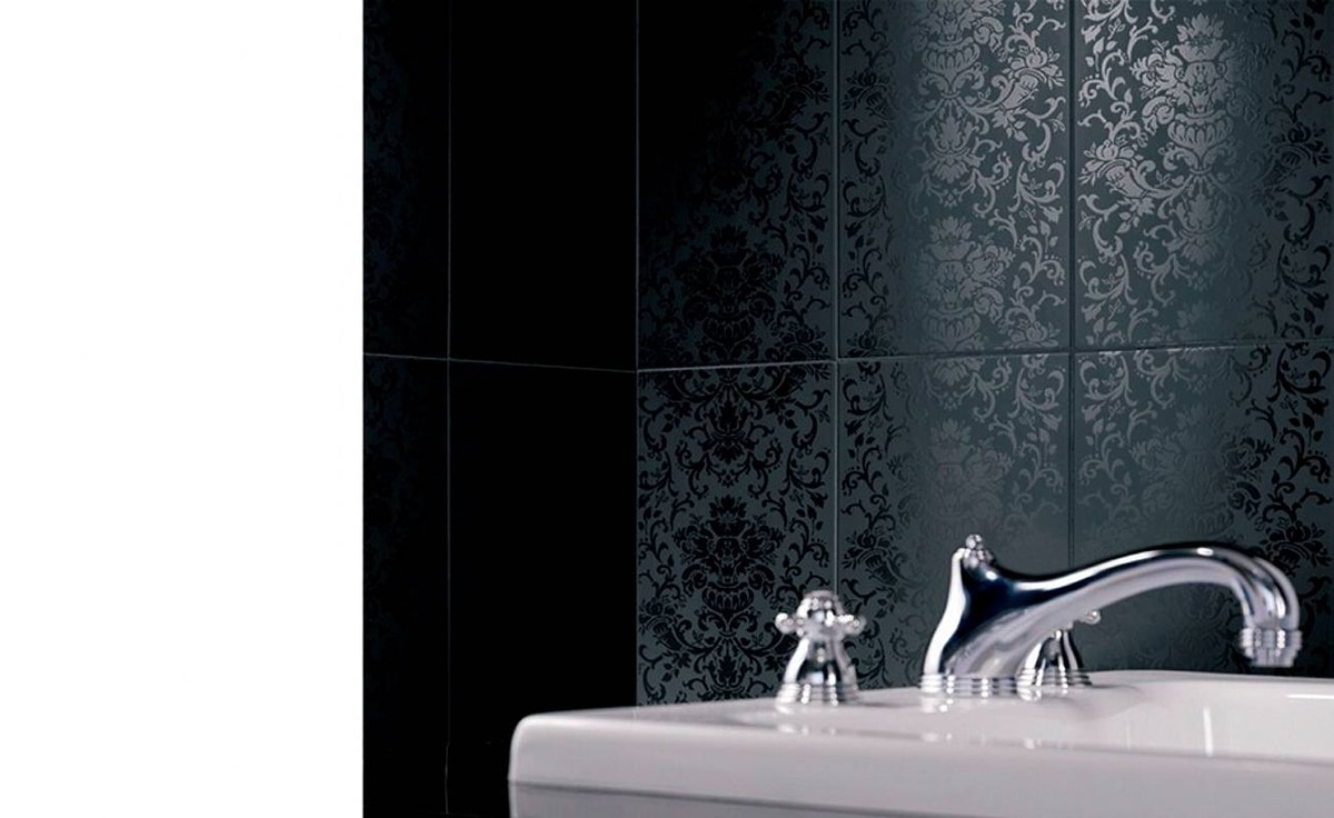 Damask-patterned wall tiles from Savoia Canada (www.savoia.ca) are ideal for feminine retreats.