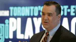 Heritage Minister James Moore while visiting the TIFF Bell Lightbox building on King St., to announce an investment from the the Government of Canada to help youth programs, Toronto April 10 2012.