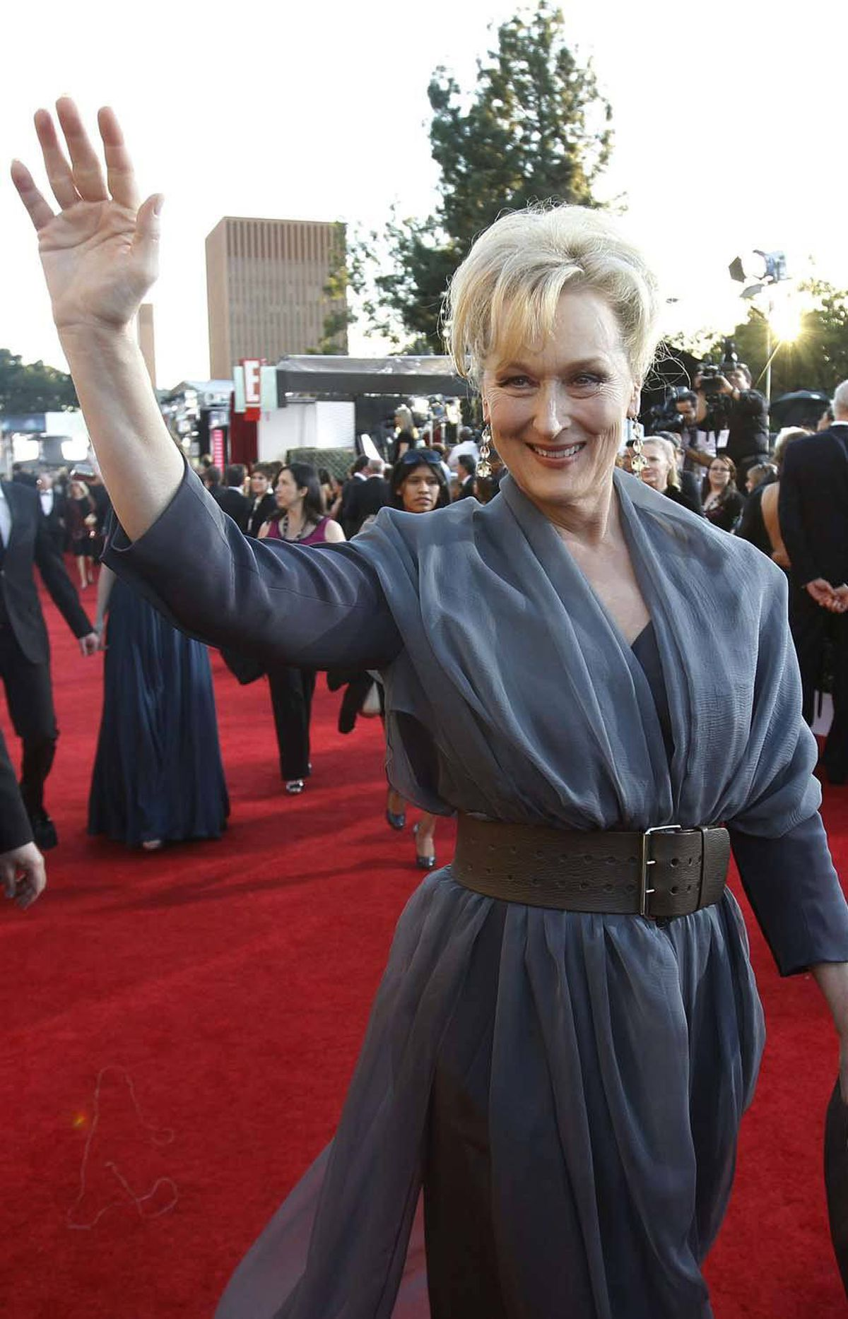 Meryl Streep, seen here at the SAG awards Sunday, does one movie about right-wing icon Margaret Thatcher and the next thing you know she's saluting crowds like this.