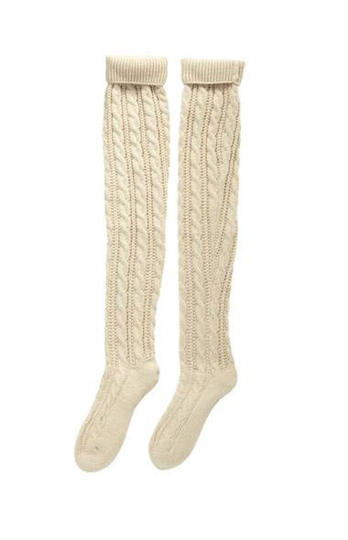 Cable-knit Hue socks in Oatmeal, $18 at Legs Beautiful