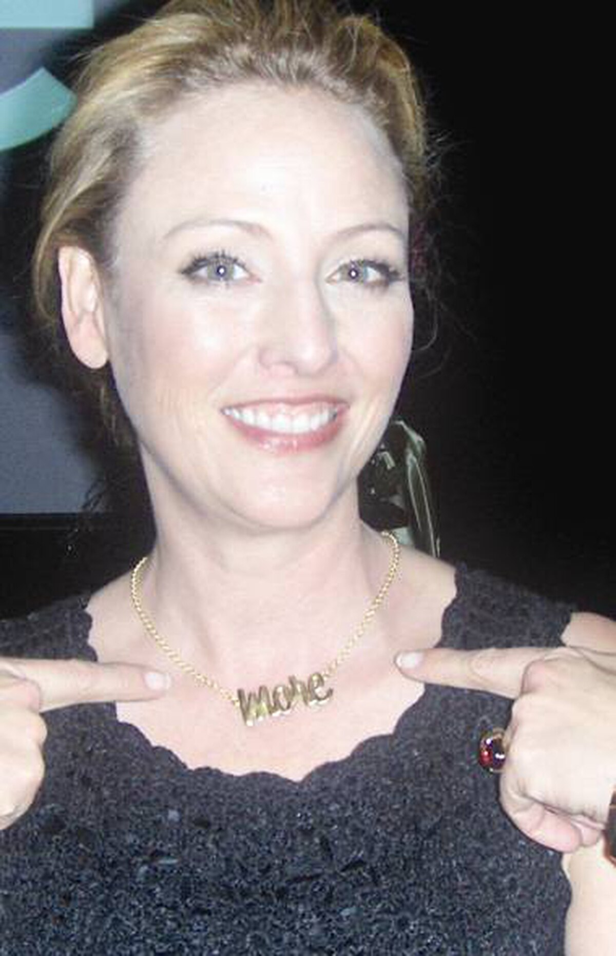Actress Virginia Madsen sports a custom-made Foxy Originals necklace.