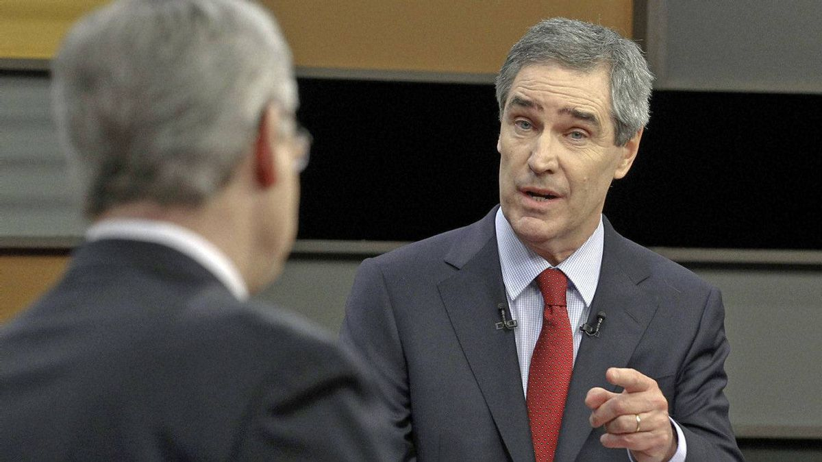 Liberal Leader Michael Ignatieff debates with Prime Minister Stephen Harper during the federal election leaders debate on April 12, 2011 in Ottawa.