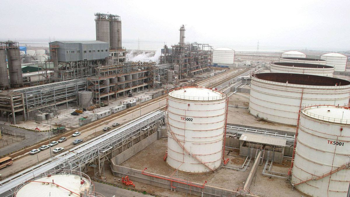 A petrochemical complex at Mahshahr on the Persian Gulf coast.
