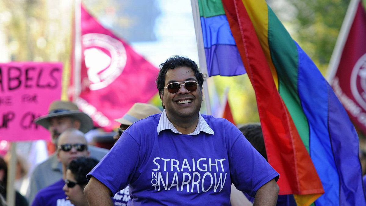 Calgary Mayor Naheed Nenshi leads the city's Gay Pride parade on Sept. 4, 2011.