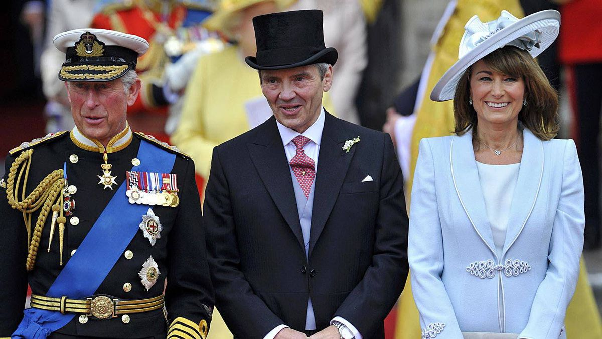 Prince Charles, Michael and Carole Middleton are seen after the wedding ceremony of Prince William and Kate Middleton at Westminster Abbey, in central London, April 29, 2011.