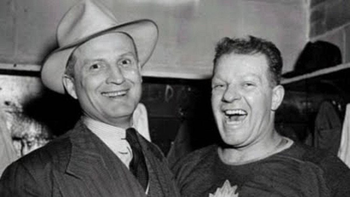 Hap Day, left, coached the Toronto Maple Leafs from 1940-1950. He's seen here with goalie Turk Broda.