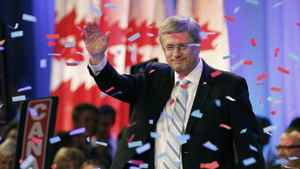 Conservative Party leader and Canadian Prime Minister Stephen Harper speaks to supporters at his federal election night headquarters in Calgary, Alberta, May 2, 2011. Harper scored a goal on Monday that had long eluded him, leading the Conservatives to the majority government he had failed to obtain in the last three elections.