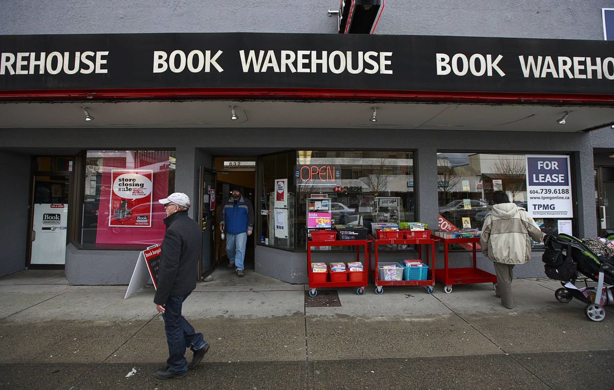 The Book Warehouse store on West Broadway in Vancouver. Owner Sharmin King has announced he is permanently closing all four of the stores's remaining locations.