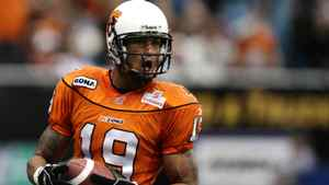 B.C. Lions' Paris Jackson celebrates after scoring a touchdown during second half CFL action against the Toronto Argonauts in Vancouver, B.C., on Saturday October 25, 2008.