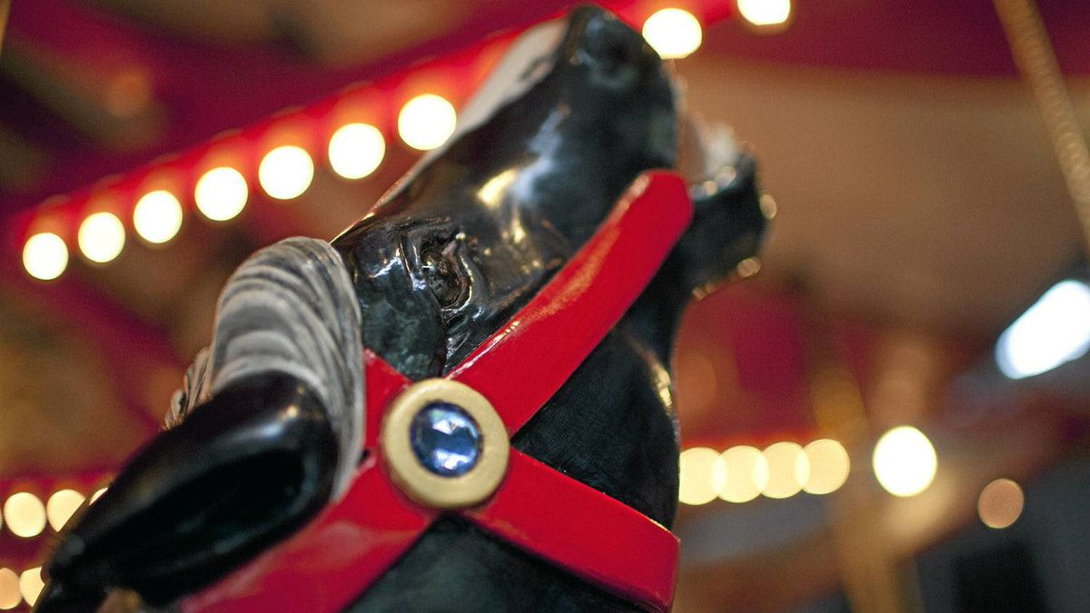 """Carousel horse No. 04 named """"Firefly"""" and sponsored by Burnaby Firefighters Charitable Society Local 323 ."""