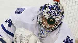Toronto Maple Leafs goaltender James Reimer makes a save in the first period of their NHL hockey game against the Boston Bruins in Boston, Massachusetts February 15, 2011.