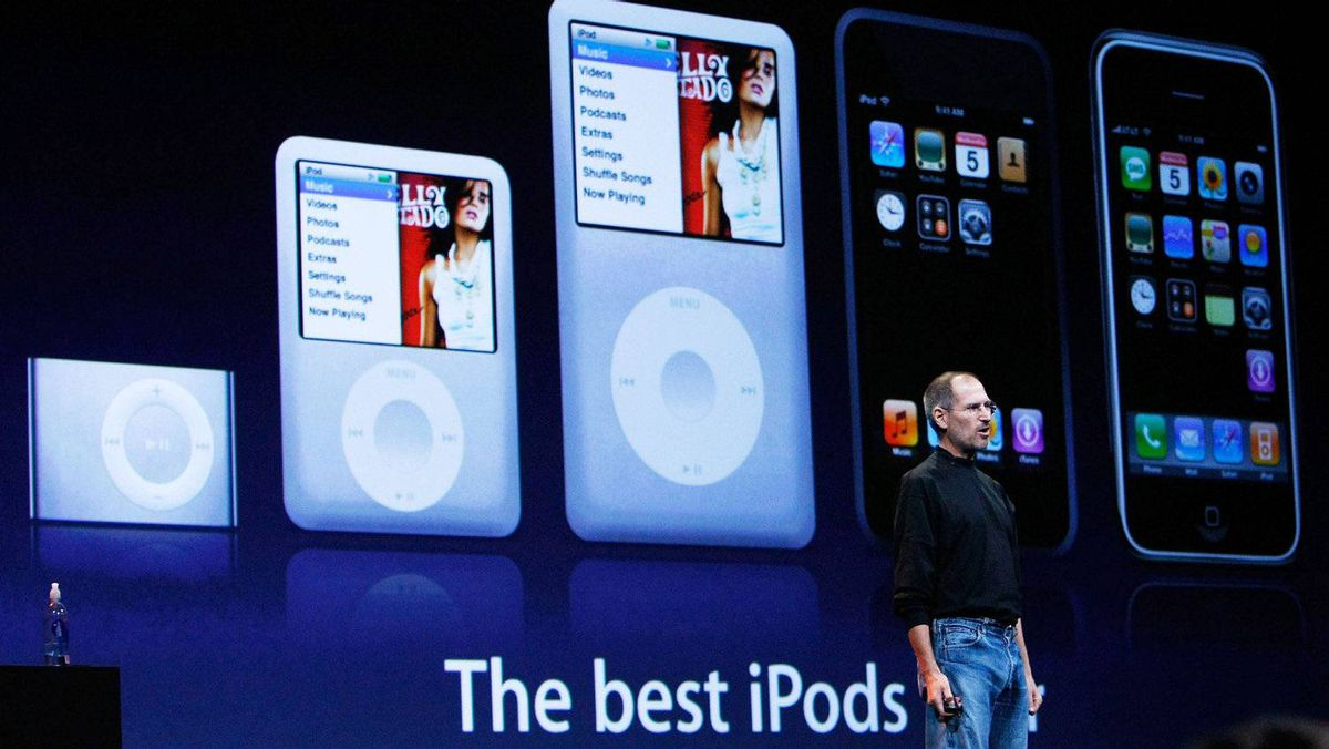 """Steve Jobs speaks in front of a display of iPod products in 2007. """"As former CEO and co-founder of Apple, Steve Jobs helped create products and technology that transformed the way we consume music, TV, movies, and books,"""" the Recording Academy said in a statement announcing he would be awarded a special Grammy at the 2012 ceremony."""