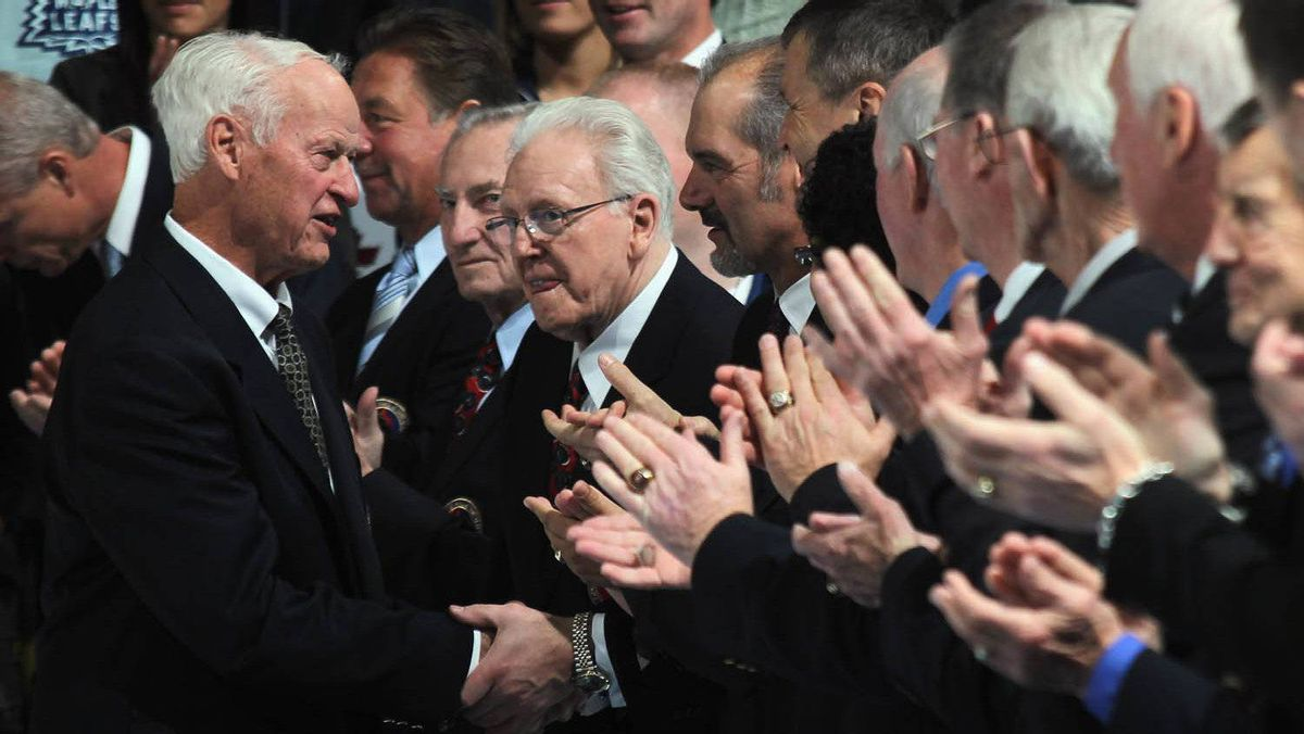 Gordie Howe shakes hands with other other Hockey Hall of Fame members during a ceremony prior to the game between the Toronto Maple Leafs and the Ottawa Senators at the Air Canada Centre on November 12, 2011 in Toronto, Ontario, Canada. (Photo by Bruce Bennett/Getty Images)