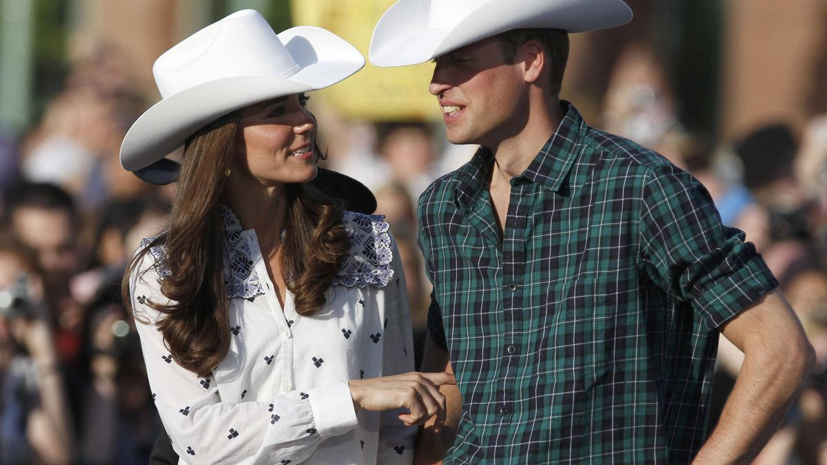Prince William and his wife, Catherine, watch some bull riding in Calgary, on July 7, 2011.