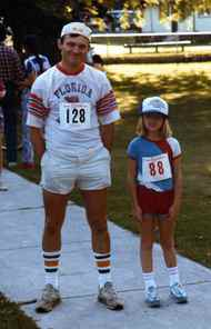 Dad and Allison before a 5km run in about 1990.