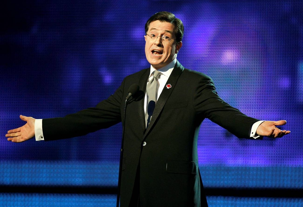 Comedian Stephen Colbert opens the show at the 52nd annual Grammy Awards in Los Angeles
