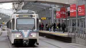 Calgary C-Train's Light Rail System leaves the city centre on Friday, January 28, 2010.