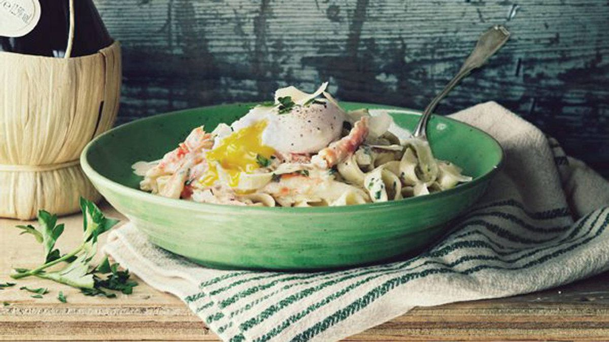 Fettucine with crab and egg, from Mark McEwan's Fabbrica: nothing but the best.