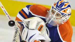 Edmonton Oilers goalie Devan Dubnyk makes a save against the Phoenix Coyotes during the first period of their NHL hockey game in Edmonton February 25, 2012. The Coyotes won 3-1. REUTERS/Dan Riedlhuber