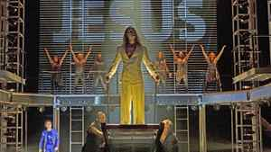 Paul Nolan as Jesus (middle) with members of the company in Jesus Christ Superstar.