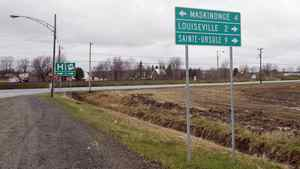 A sign post is shown on May 4, 2011, in the Quebec riding of Berthier-Maskinonge, which was won by NDP candidate Ruth Ellen Brosseau.