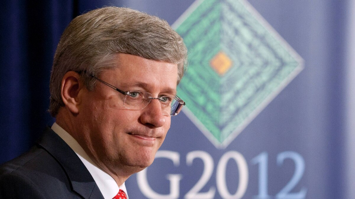 Canadian Prime Minister Stephen Harper speaks at a news conference following the G-20 Summit in Los Cabos, Mexico, Tuesday June 19, 2012.