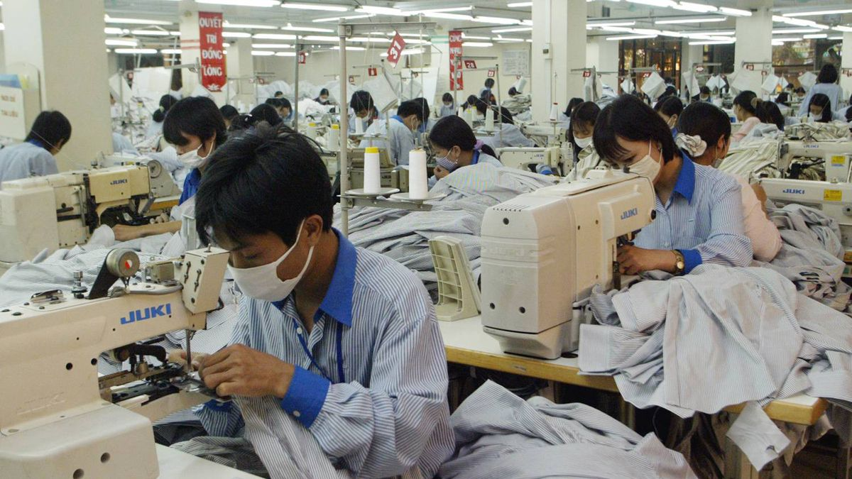 Workers at a garment factory in Hanoi