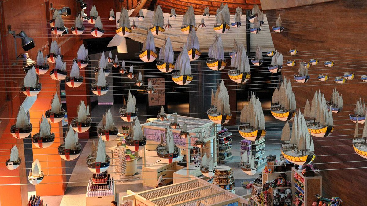 Replicas of sailing fleets exhibited along side of a replica of a 15th-century treasure ship used by legendary Chinese explorer Admiral Zheng He at the new maritime museum in Singapore.