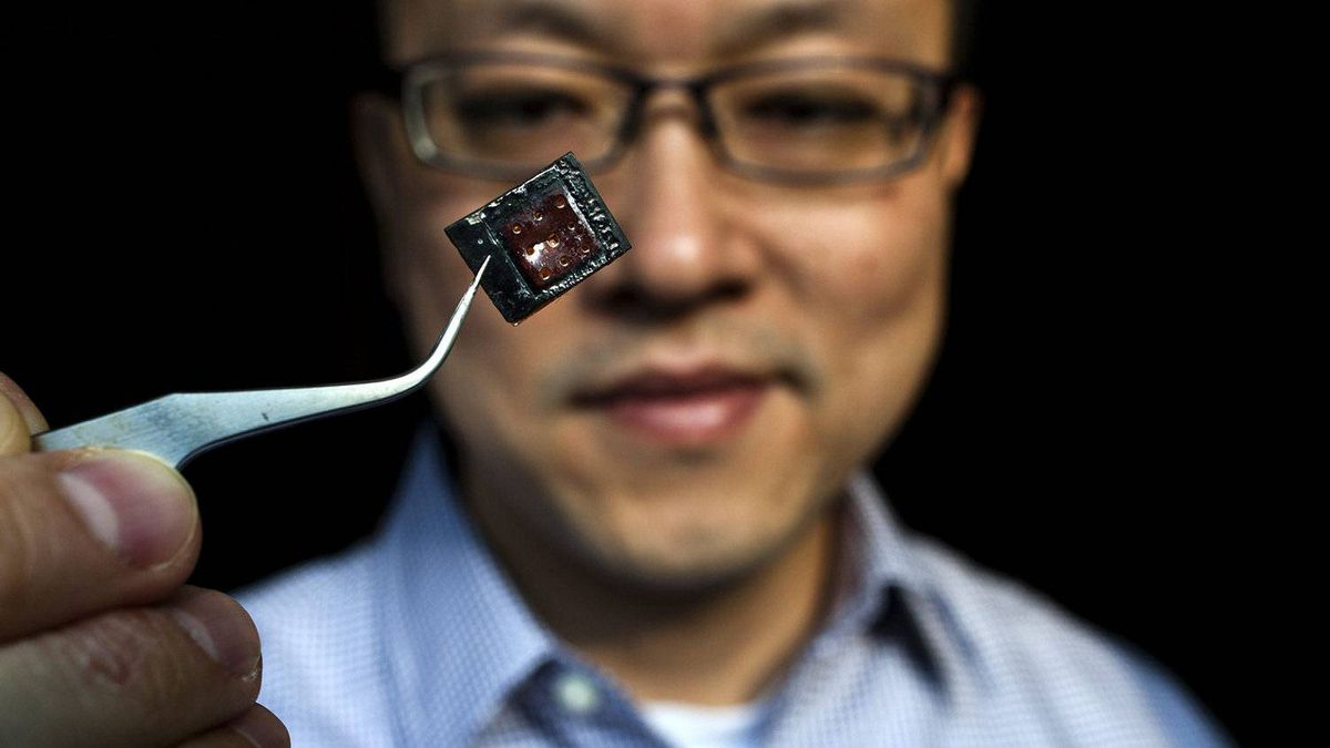 Kenichi Takahata holds a miniature chip for targeted drug delivery in his laboratory at the University of British Columbia in Vancouver.