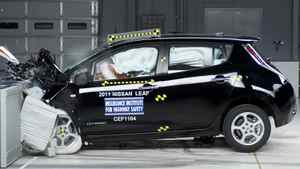 The front-end, crash test of a 2011 Nissan Leaf.