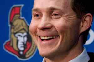 Cory Clouston reacts to media questions following a press conference to announce his two-year contract as the Ottawa Senators head coach at the Scotiabank Place in Ottawa on Wednesday April 8, 2009.