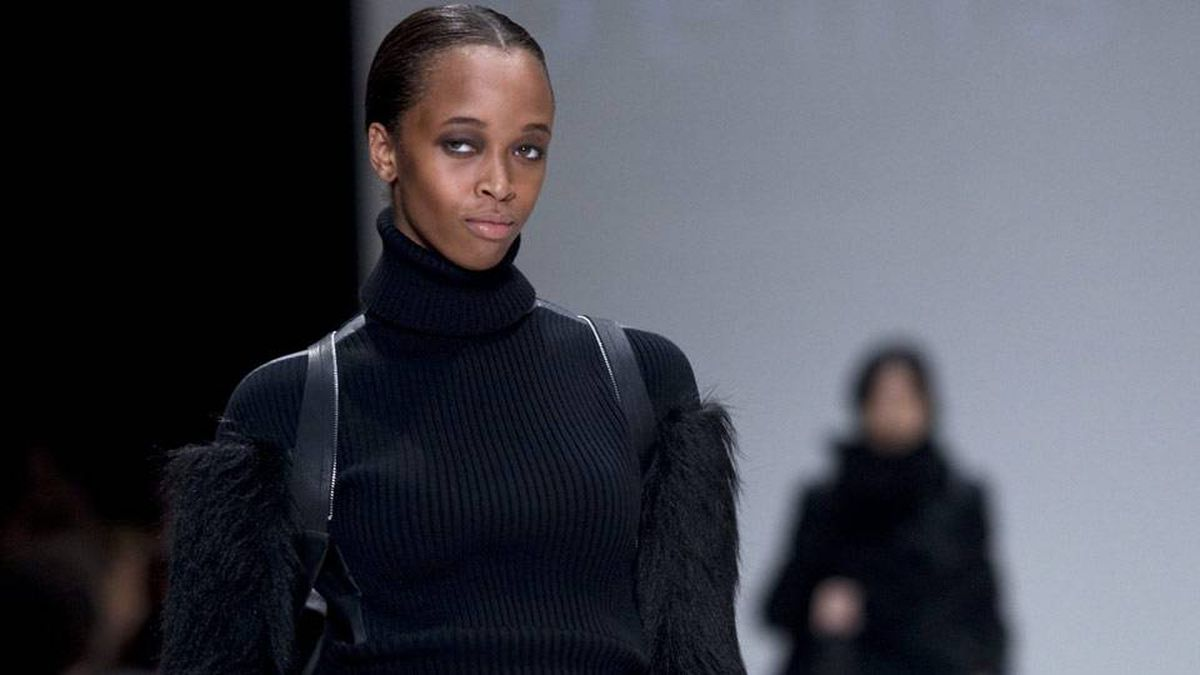 A model shows a creation by Denis Gagnon during Holt Renfrew's show at LG Fashion Week.