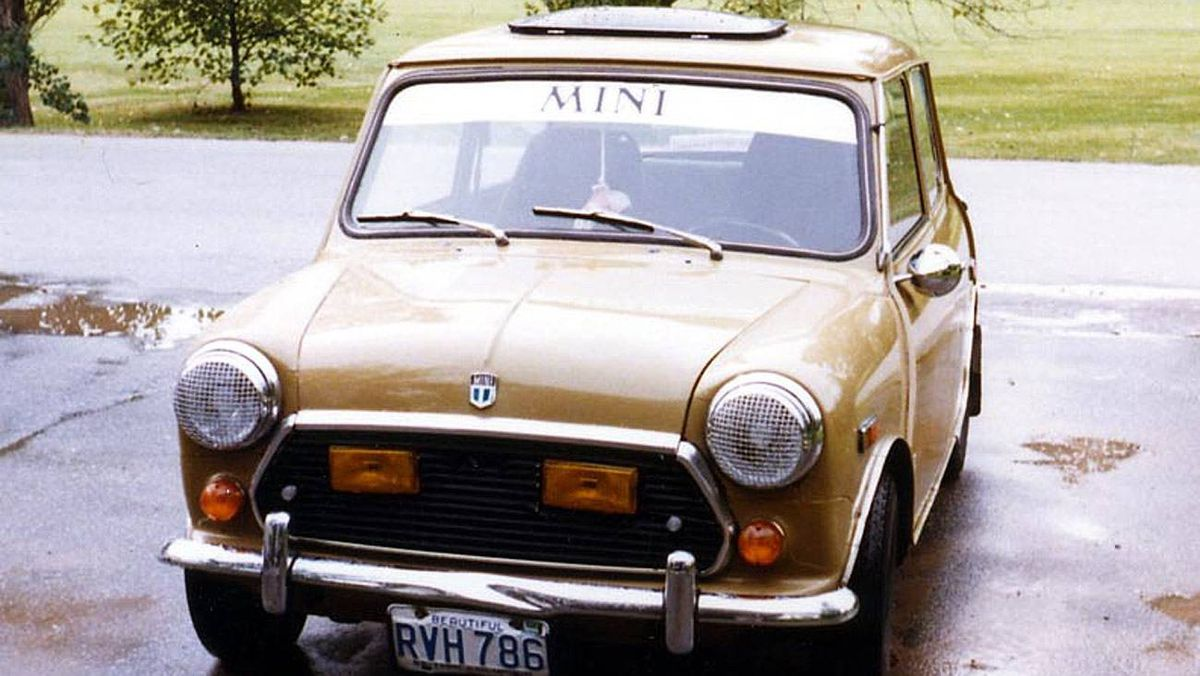 1972 Mini: My '72 Mini. I stuffed a 1300 in it with a Weber carb and pretended it was a Cooper S. If you revved it and popped the clutch in reverse it would do a little hop wheelie going backwards. Hilarious!