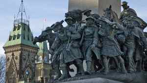 The National War Memorial in Ottawa was vandalized in 2006.