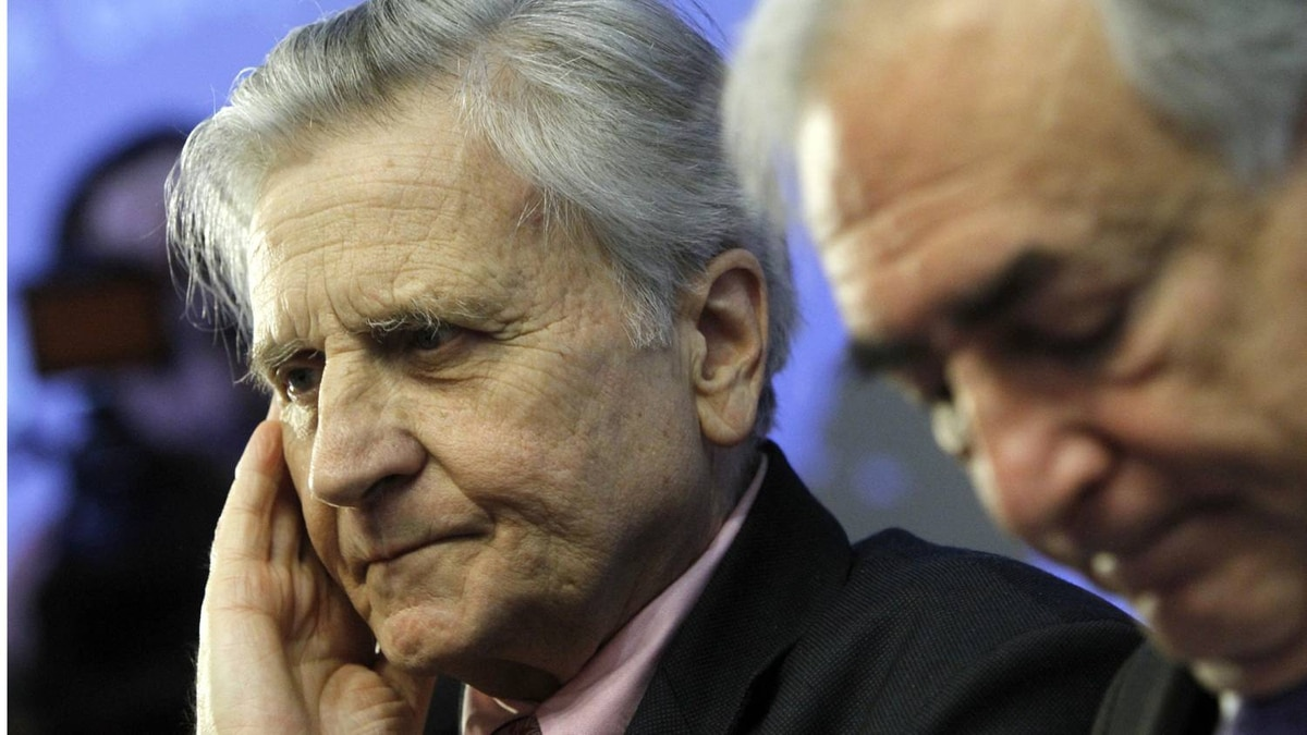 European Central Bank president Jean Claude Trichet, left, and IMF Managing Director Dominique Strauss-Kahn at a meeting in Brussels on Friday.