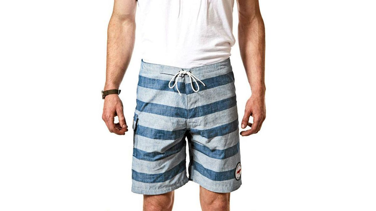 Trunk show Ride the waves in Katin + Apolis striped swim trunks. Made in California from 100 per cent cotton chambray, the fully lined trunks are softer than typical poly-blend swimwear, so you can feel comfortable wearing them from surfboard to sidewalk café. A slide flap pocket comes with a string that keeps keys secure. $128 (U.S.); apolisglobal.com