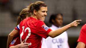 Canada's Christine Sinclair celebrates her penalty kick goal against Cuba during the first half of play in a CONCACAF women's Olympic qualifying soccer game in Vancouver, B.C., on Saturday January 21, 2012.
