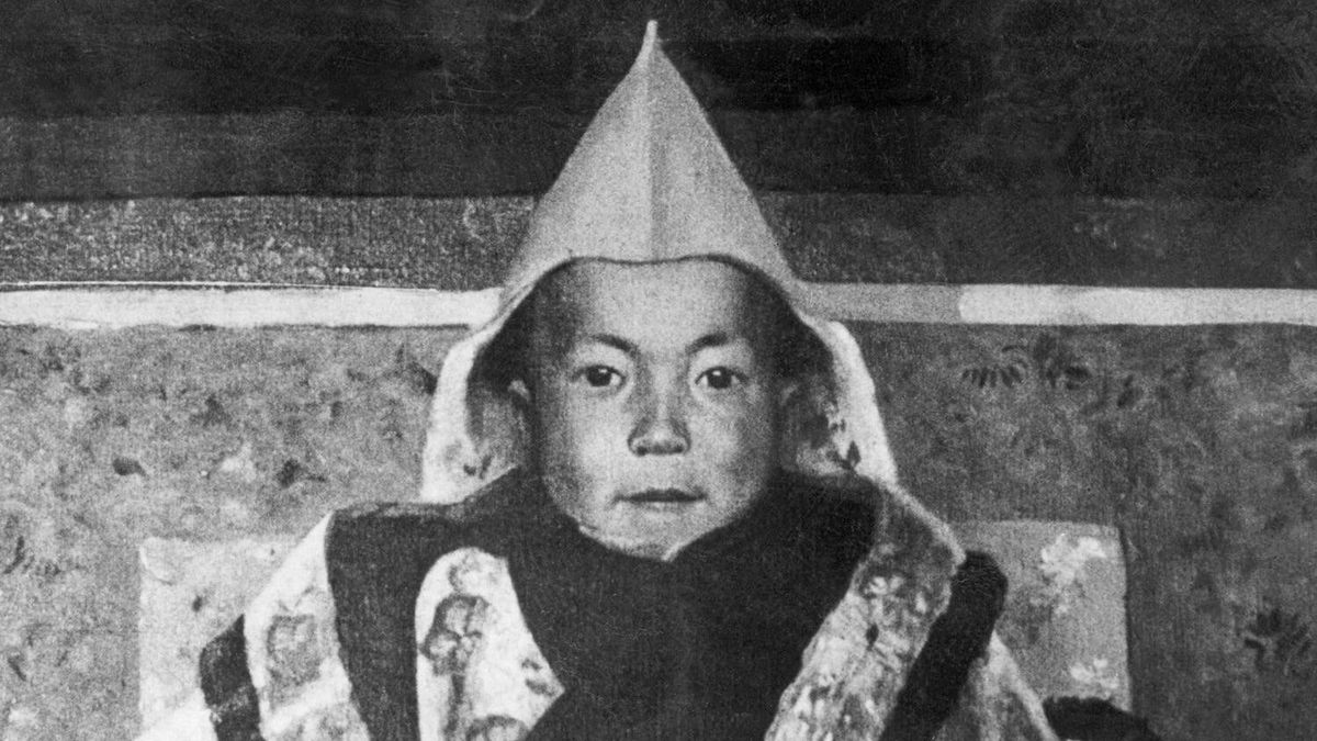 In this undated picture of a painting by Kanwal Krishna dated probably in 1930s shows a young Dalai Lama (Tenzin Gyatso, born in 1935), the traditional religious and temporal head of Tibet's Buddhist clergy