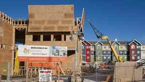 Construction crews build housing and community centres in Saskatoon. Statistics Canada reported Monday, May 7, 2012, that the value of building permits rose 4.7 per cent in March from the previous month to $6.8-billion, as non-residential permits soared 14 per cent – on the strength of an 88-per cent gain in plans for institutional buildings like medical facilities.