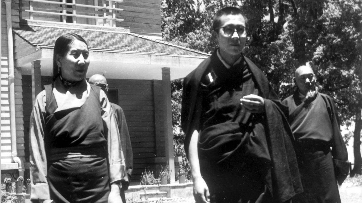 May 19, 1959. The Dalai Lama of Tibet poses with his mother, Gyuam Chemo, in the grounds of Birla House, Mussoorie, India, where he is living in exile