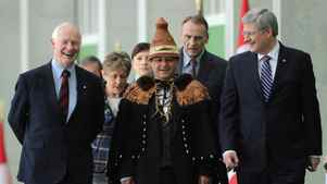 Prime Minister Stephen Harper arrives at the Crown First Nations Gathering with Governor-General David Johnston and Shawn Atleo, National Chief of the Assembly of First Nations.